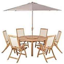 6 Seater - 7 Piece -Virginia Recliner Set with Ivory Parasol - FSC TEAK Virginia Round 150cm Fixed Legs Table & Lazy Susan with 6 St. Tropez Recliner Chairs and 3m Parasol