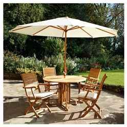 4 Seater - Dorney Folding Dining Set with Ivory Parasol - FSC® Dorney Round 120cm Gateleg Table with 4 FSC® Hamilton Folding Armchairs and 2.5m Parasol - NEW