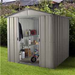 """6'1"""" x 7'5"""" Apex Metal Shed With FREE Anchor Kit (2.02m x 2.37m)"""