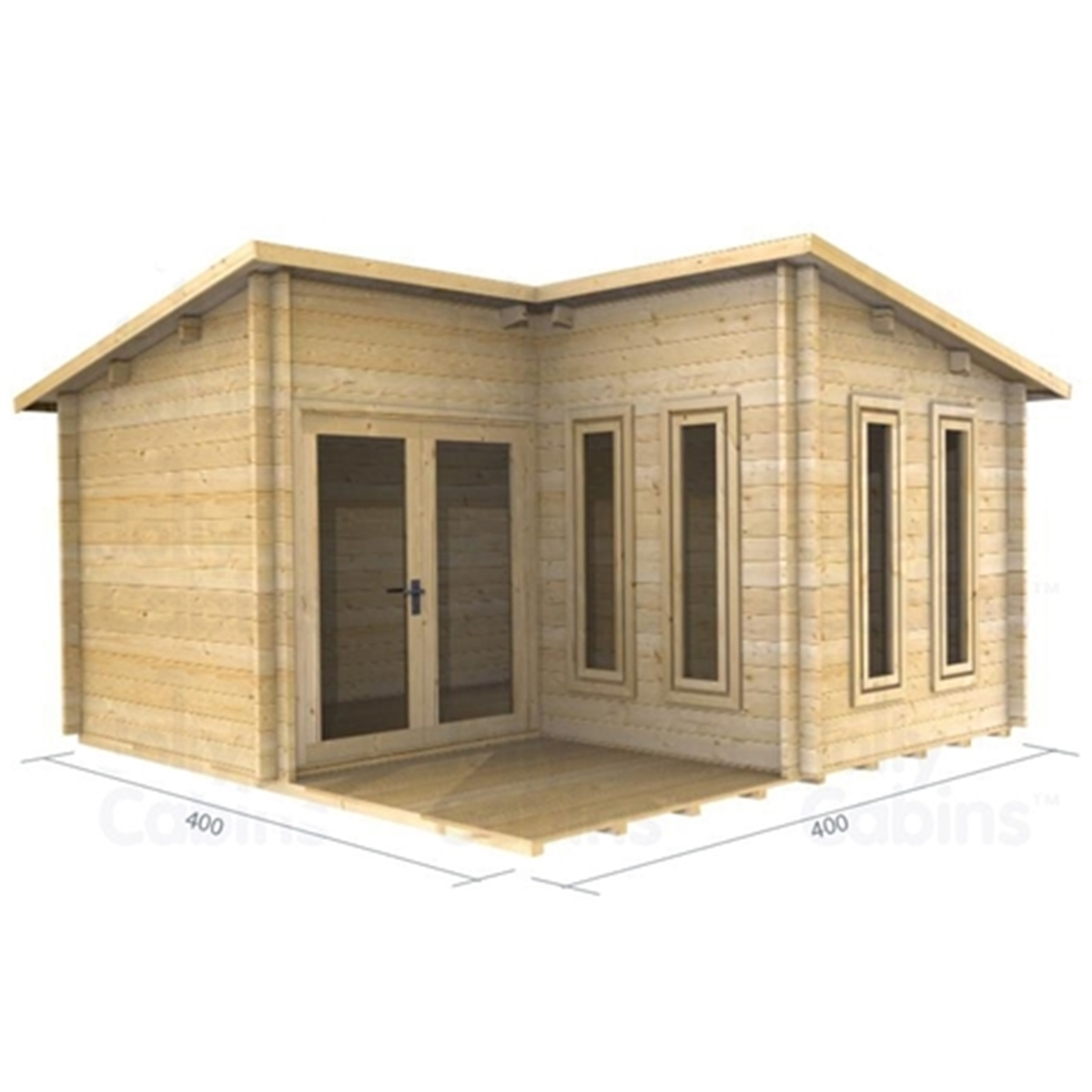 4m X 4m 13 X 13 Pent Style Log Cabin 2054 Double