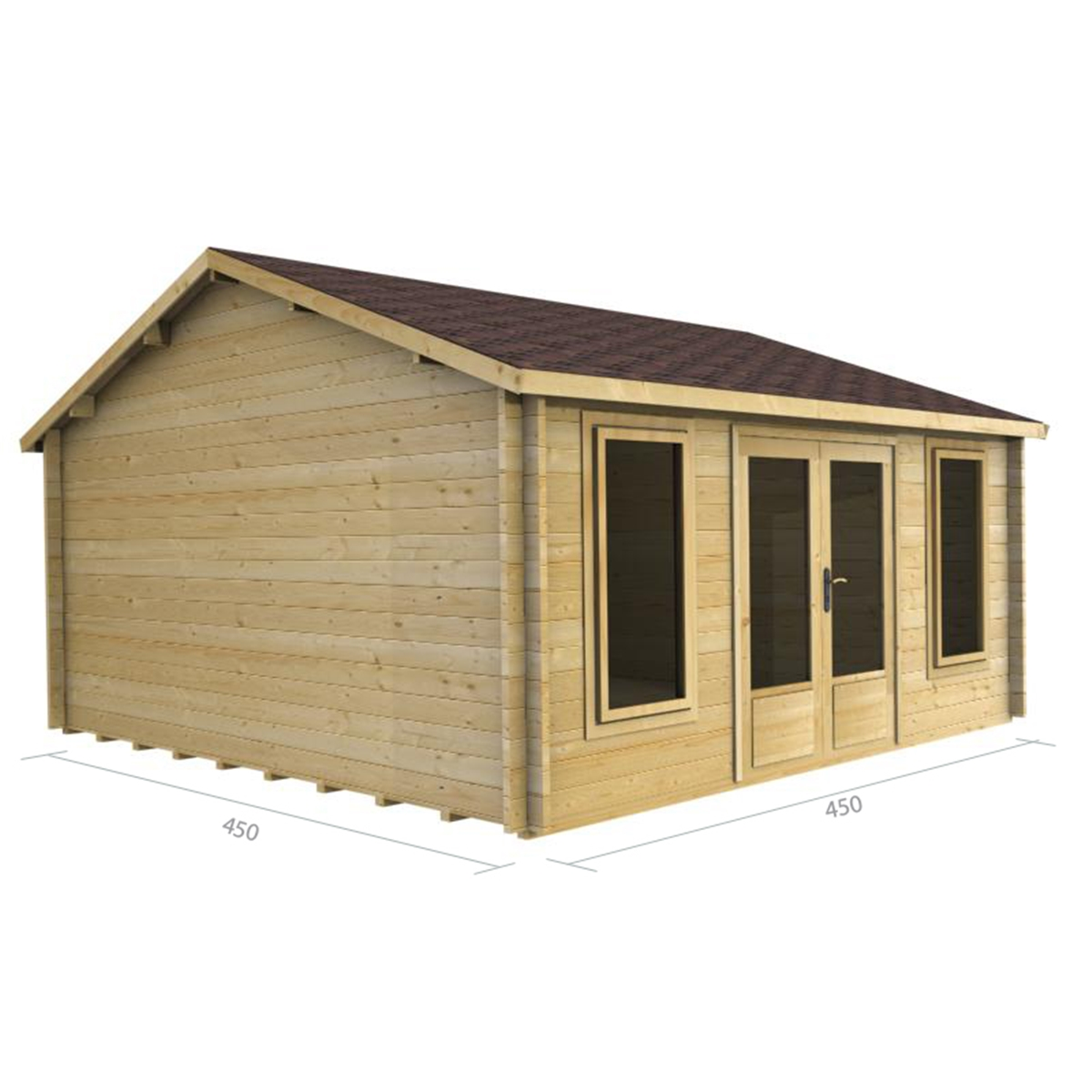 5m X 4.5m (15 X 15) Apex Reverse Log Cabin (2077) Double Glazing . Full resolution  snapshot, nominally Width 1200 Height 1200 pixels, snapshot with #987633.