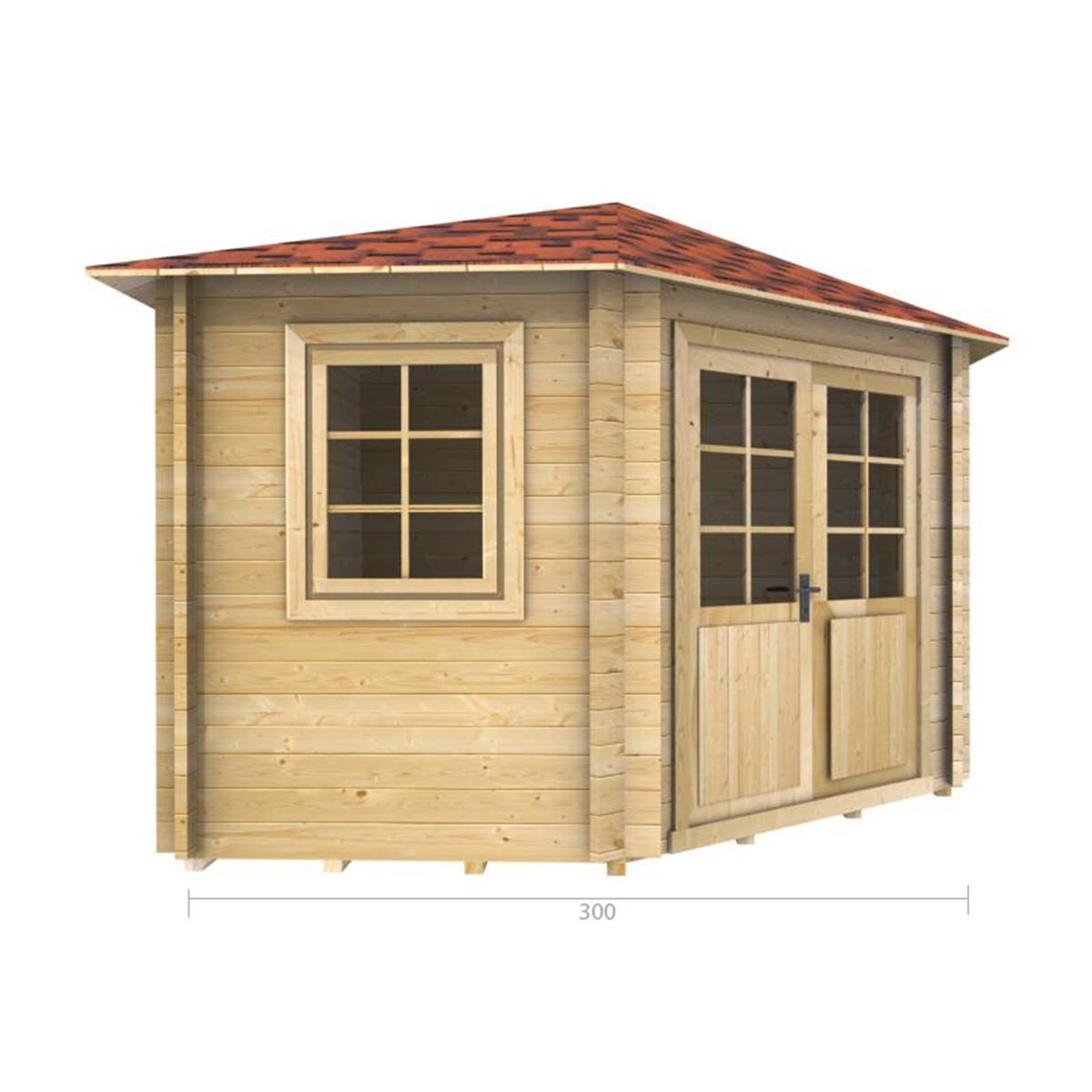 3m x 3m 10 x 10 corner log cabin 2036 double glazing. Black Bedroom Furniture Sets. Home Design Ideas