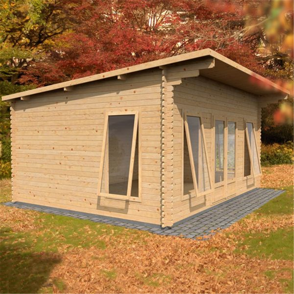 Warwick Log Cabins : 4m X 5.2m Modern Log Cabin (Double Glazing . Full resolution‎  portrait, nominally Width 1200 Height 1200 pixels, portrait with #AF771C.