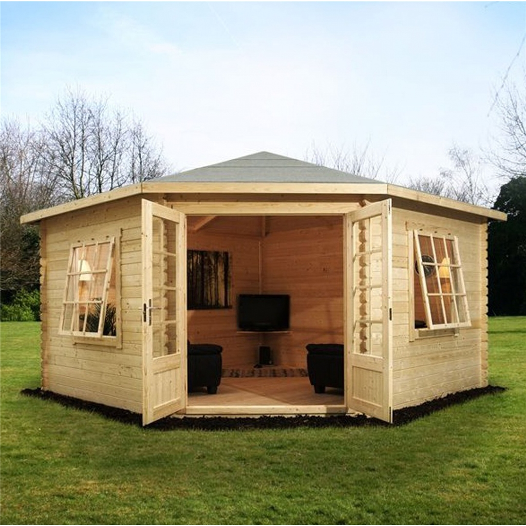 Superb img of Warwick Log Cabins : 4m x 4m Corner Log Cabin (Double Glazing) with  with #4F5B1B color and 1024x1024 pixels