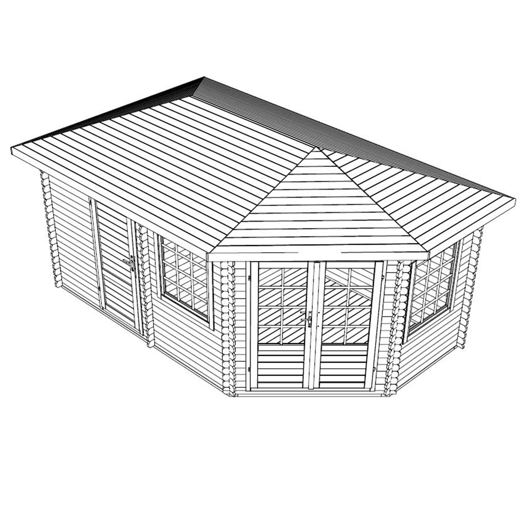 Warwick Log Cabins : 5m X 3m Corner Log Cabin (Single Glazing)   Free . Full resolution  pic, nominally Width 1024 Height 1024 pixels, pic with #303030.