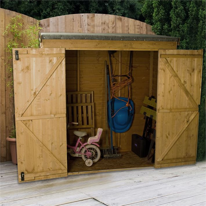 6 x 2 6 overlap pent storage shed with double doors 10mm for Plastic pent shed