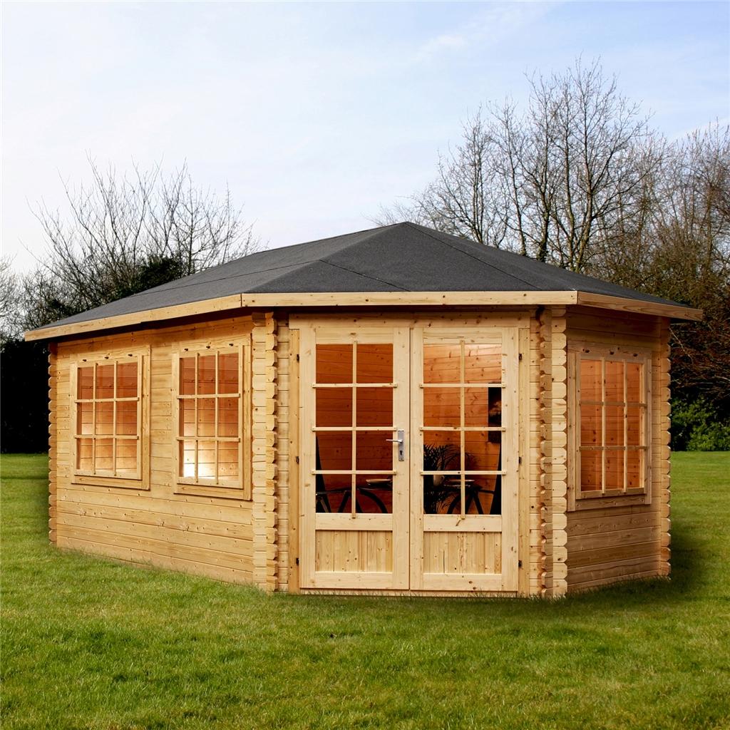 5m x 3m extended corner log cabin double glazing free. Black Bedroom Furniture Sets. Home Design Ideas