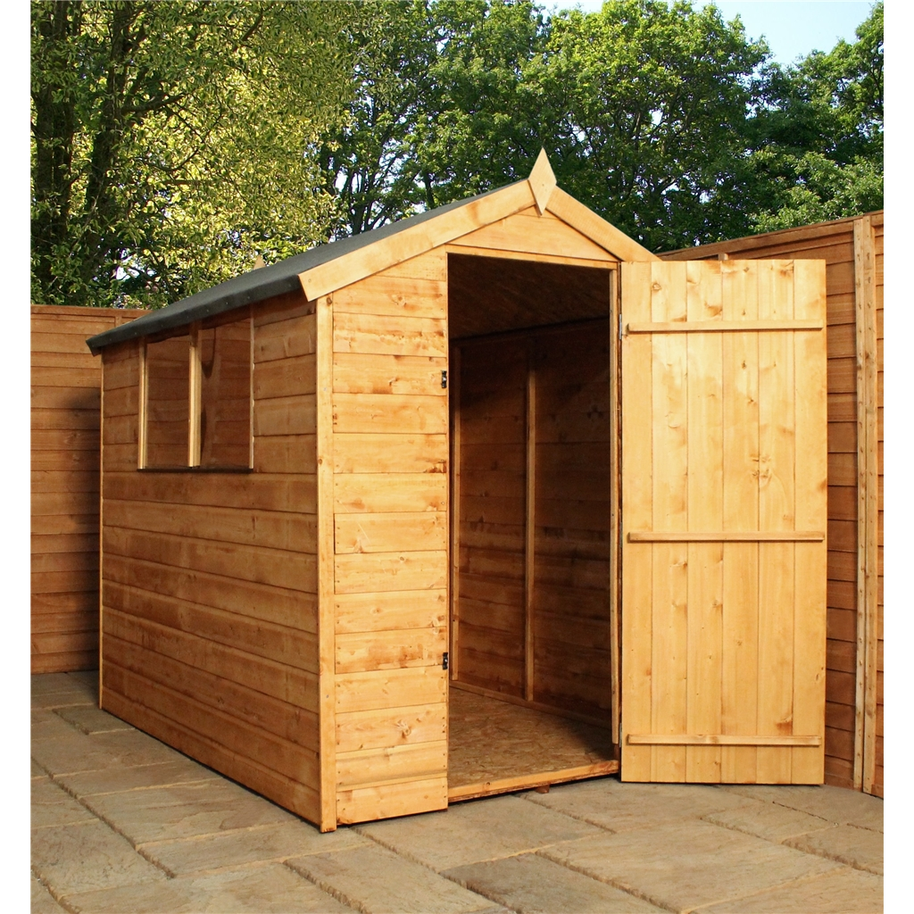 1024 #B97A12  Groove Apex Shed With Single Door   2 Windows (10mm Solid OSB Floor image Shed Doors And Windows 41331024