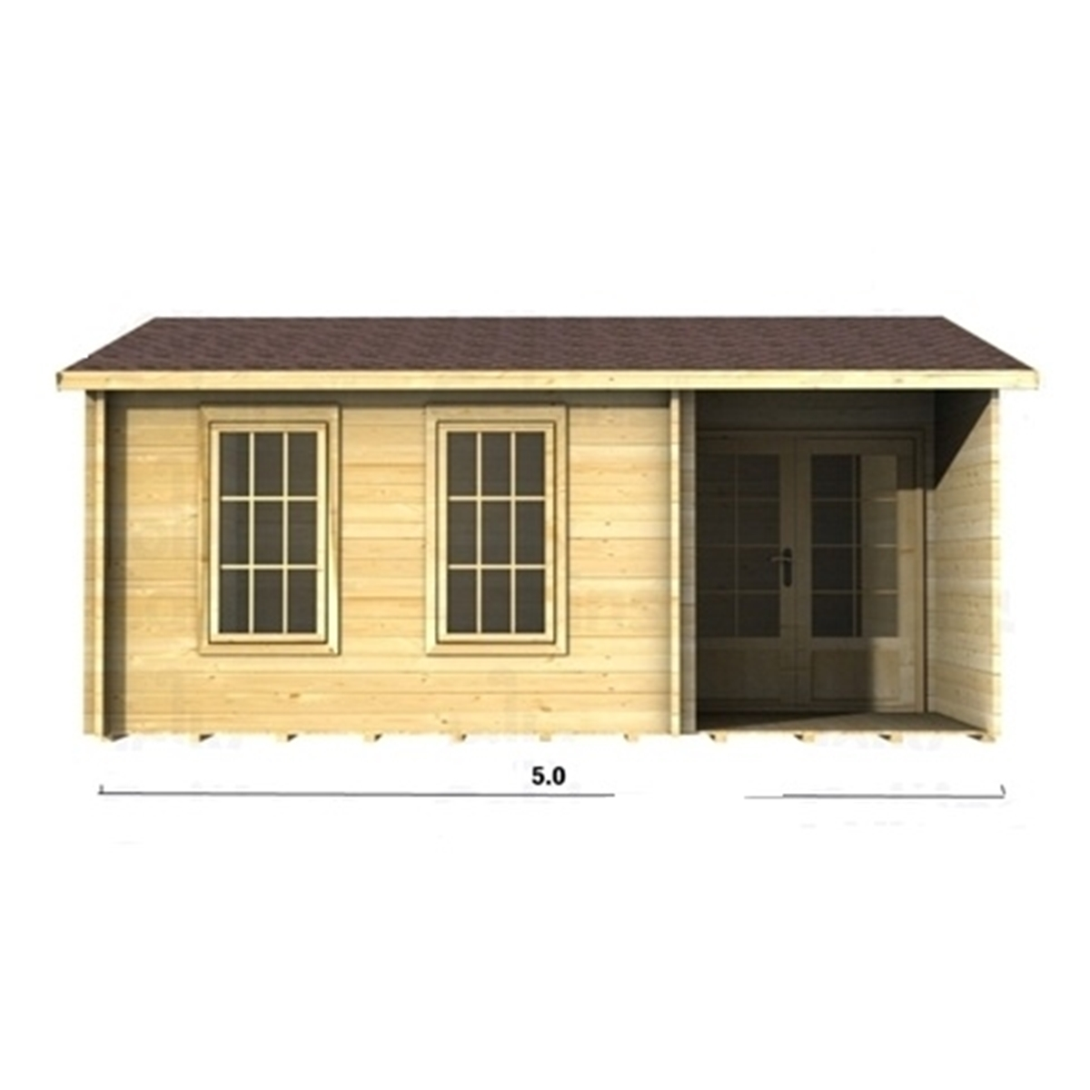 Marvelous photograph of 5m x 3m (16 x 10) Apex Reverse Log Cabin (2090) Double Glazing  with #A97F22 color and 1200x1200 pixels
