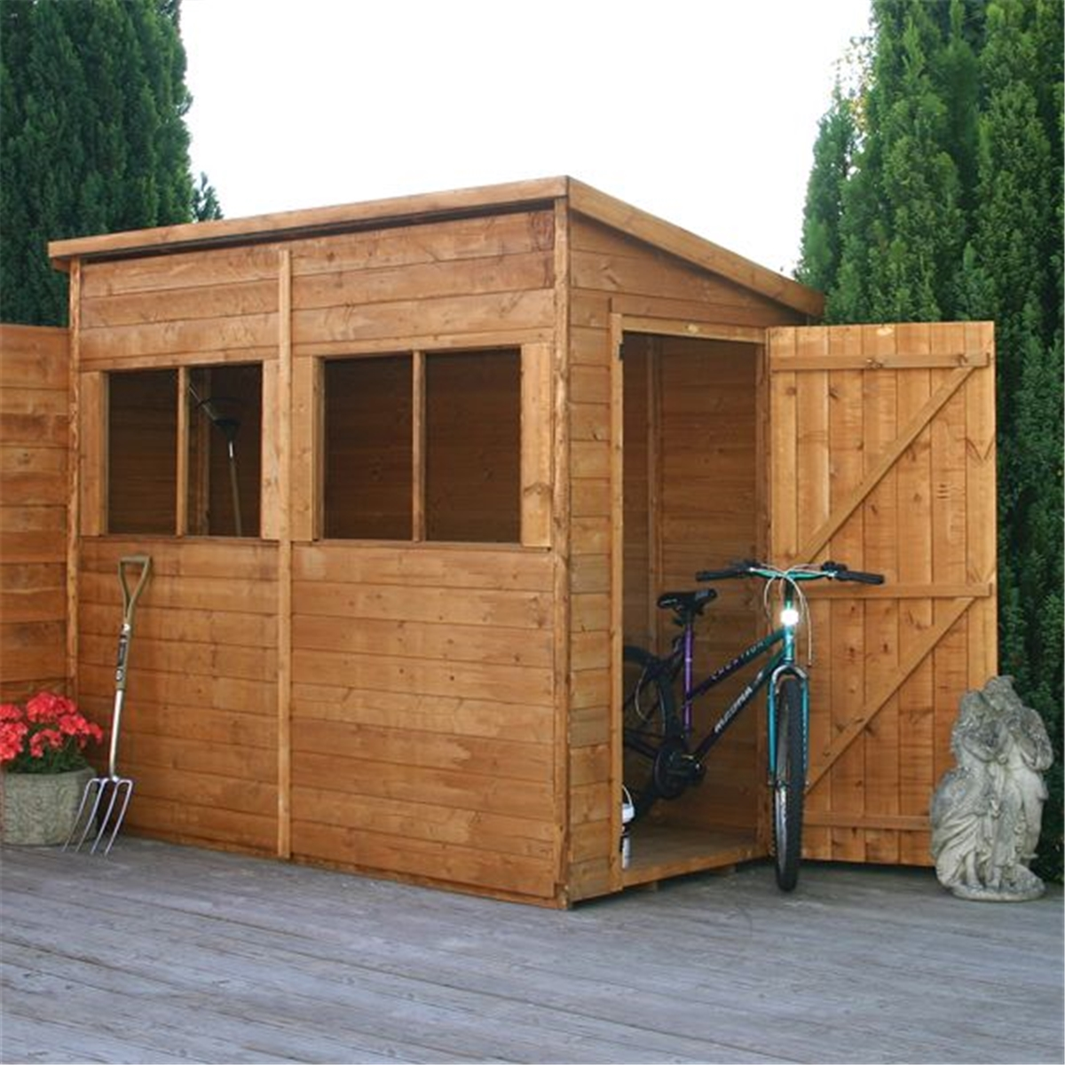 8 x 4 premier tongue and groove pent shed with 4 windows for Plastic pent shed