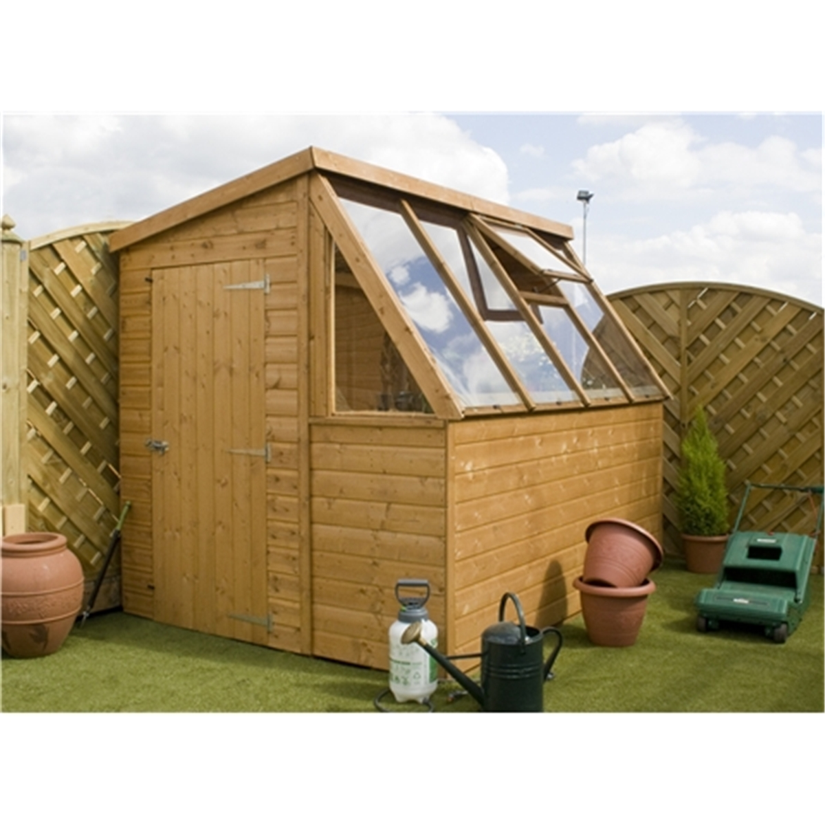 8 x 6 premier potting shed free potting bench with for Potting shed