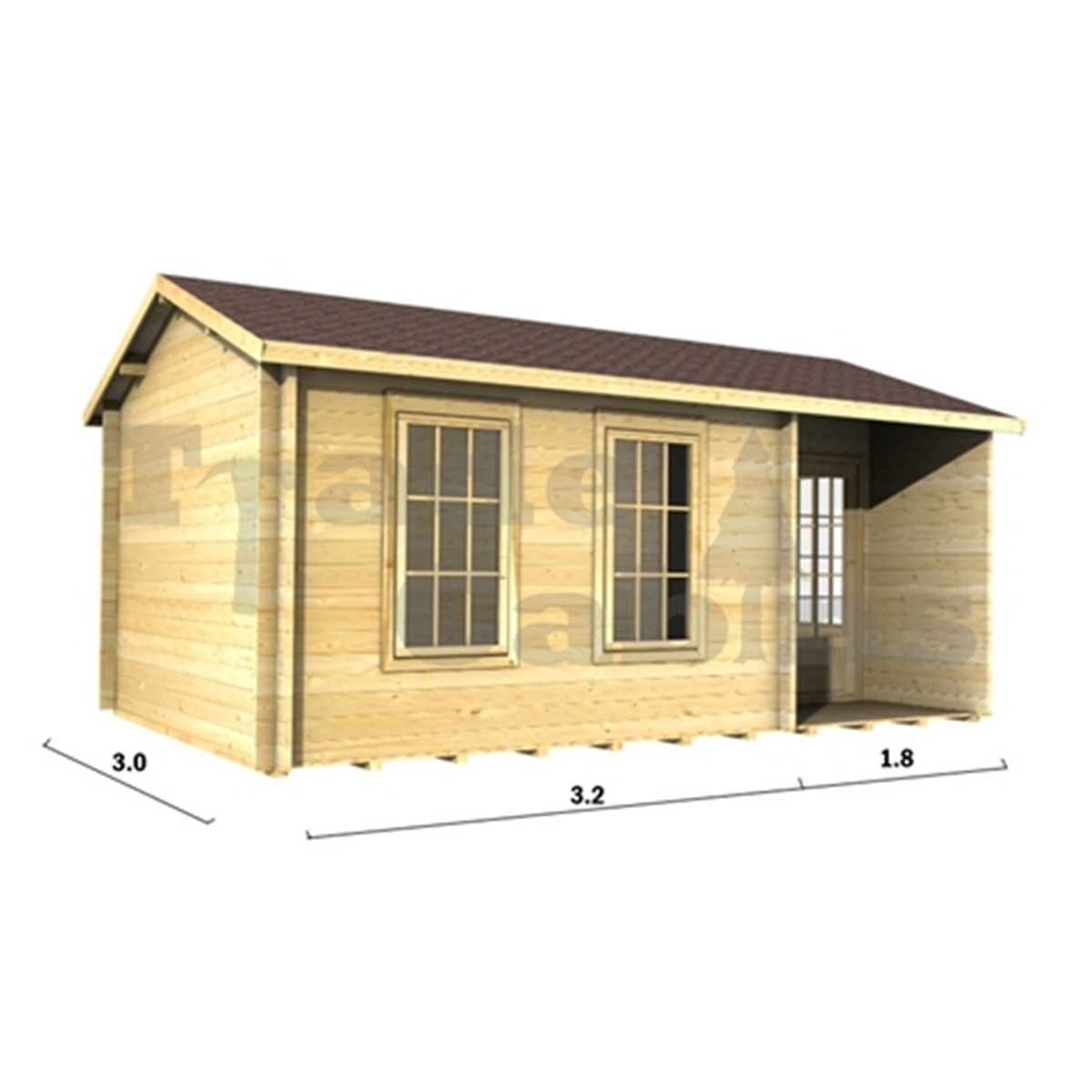5m X 3m (16 X 10) Apex Reverse Log Cabin (2090) Double Glazing . Full resolution  pic, nominally Width 1200 Height 1200 pixels, pic with #A67D25.