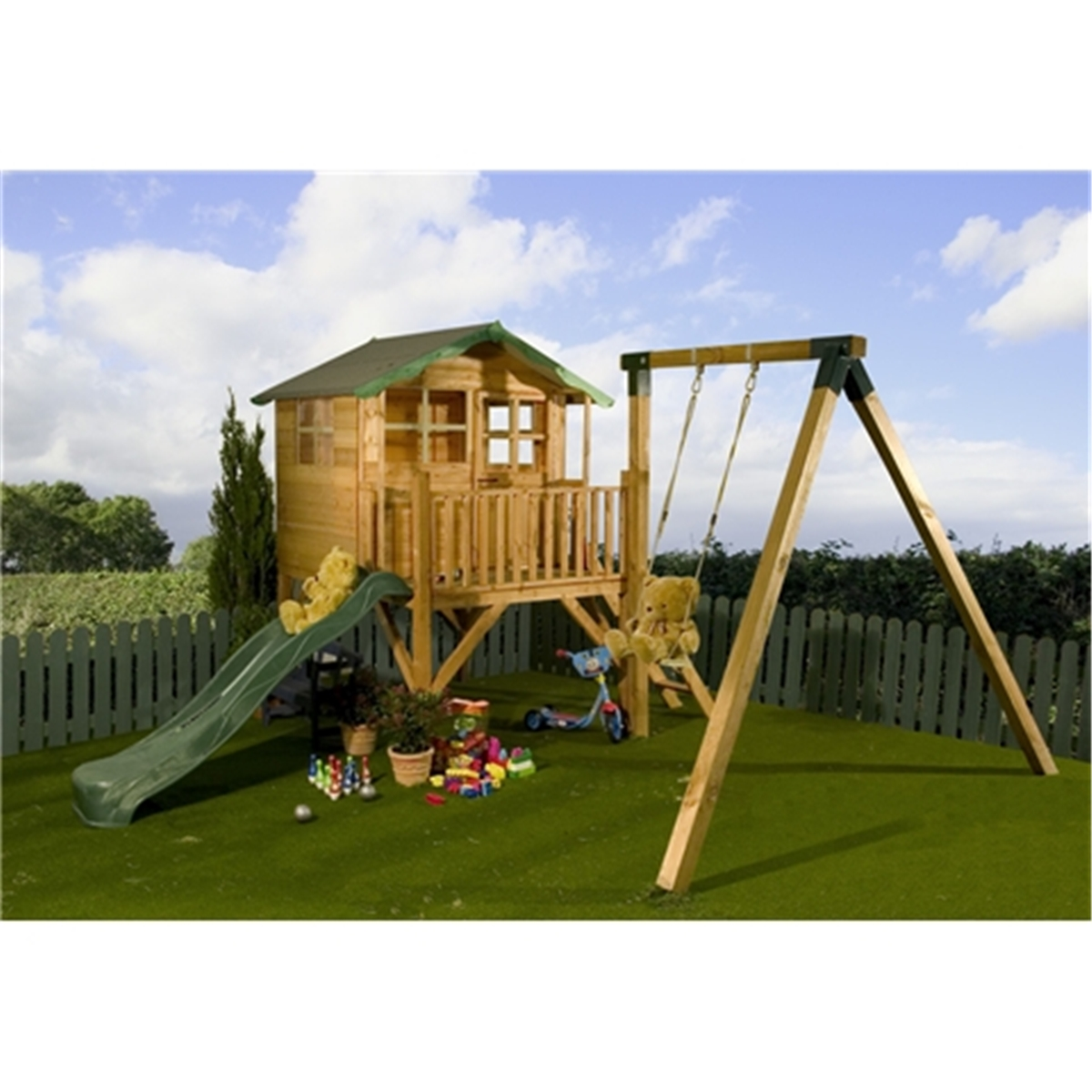 5 x 7 wooden tower playhouse with slide and swing