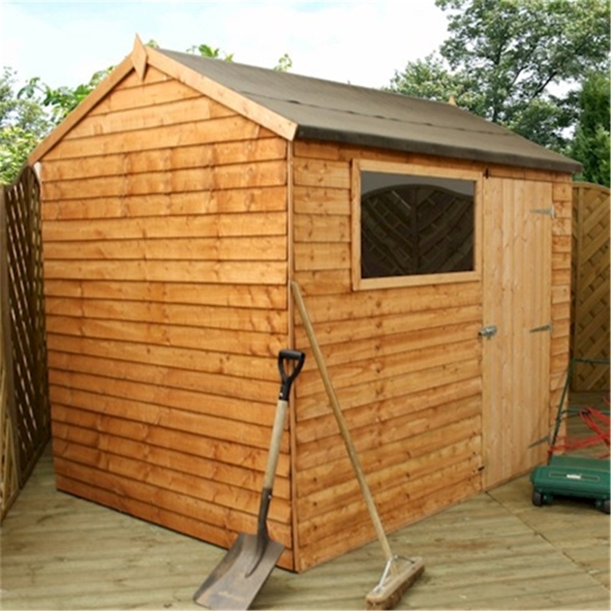 6 x 8 reverse overlap apex shed with single door 1 for Garden shed ideas uk