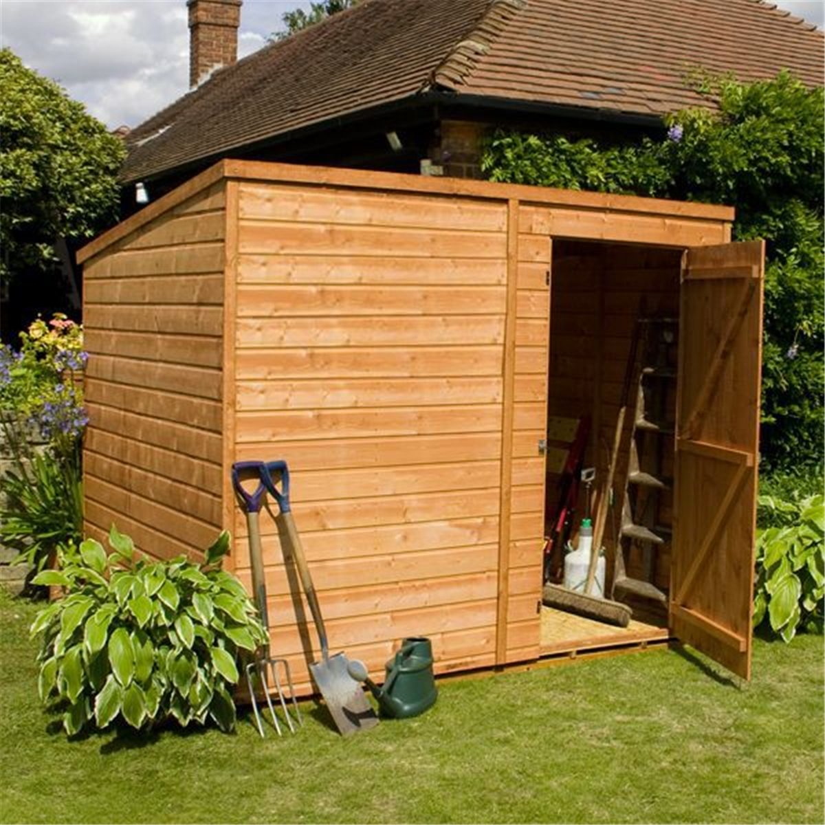 Windowless Tongue and Groove Pent Shed With Single Door (solid