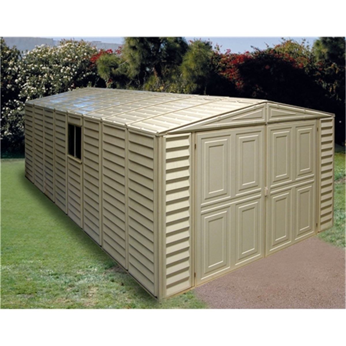 10 x 21 select duramax plastic pvc garage with steel frame x shedsfirst. Black Bedroom Furniture Sets. Home Design Ideas