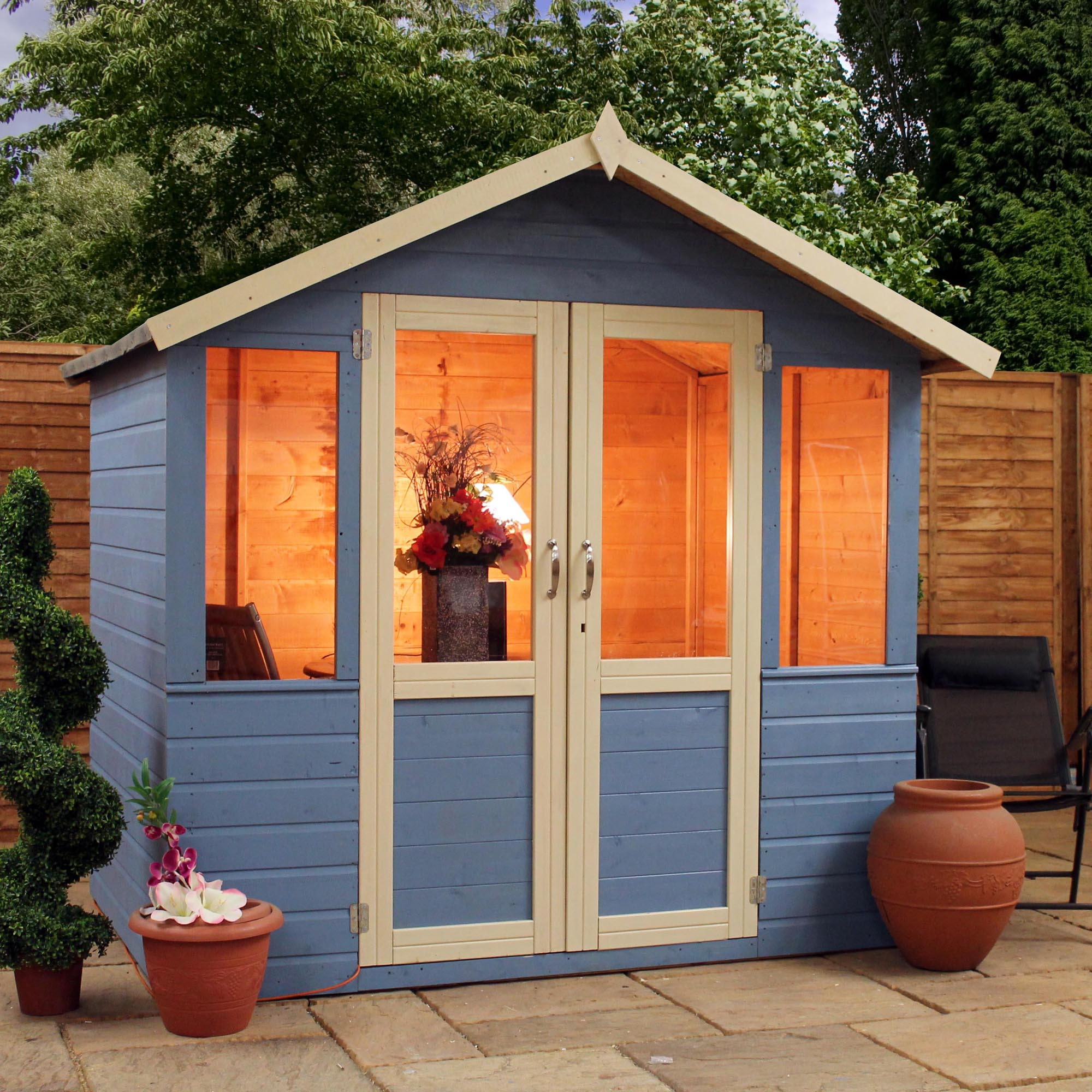 7 X 5 Devon Summerhouse 1 2 Styrene Glazed Doors