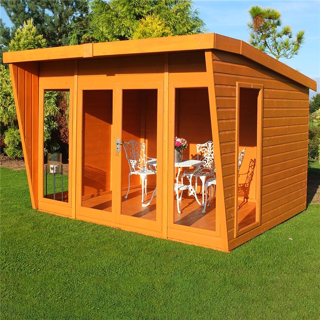 10 X 8 Summerhouse + Fully Glazed Double Doors (12mm