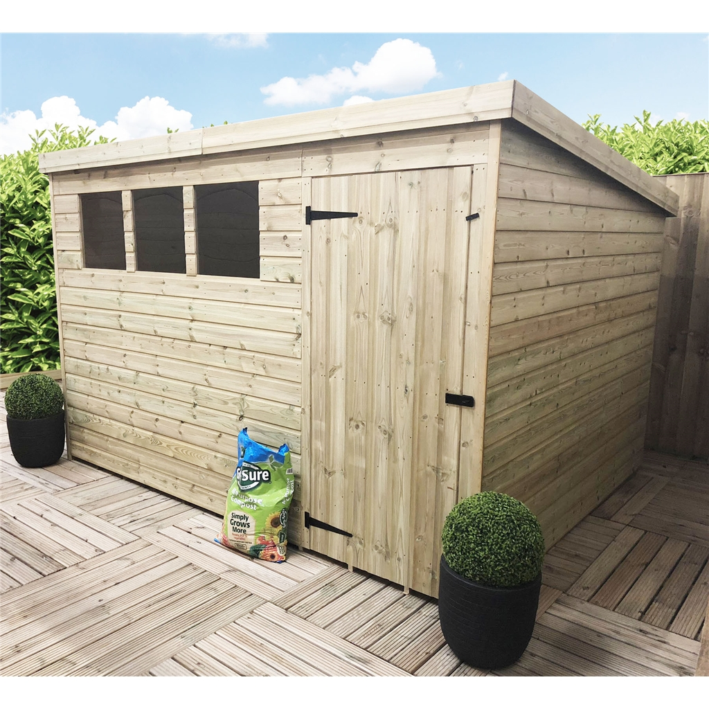 10 x 8 pressure treated tongue and groove pent shed with 3 for Plastic pent shed