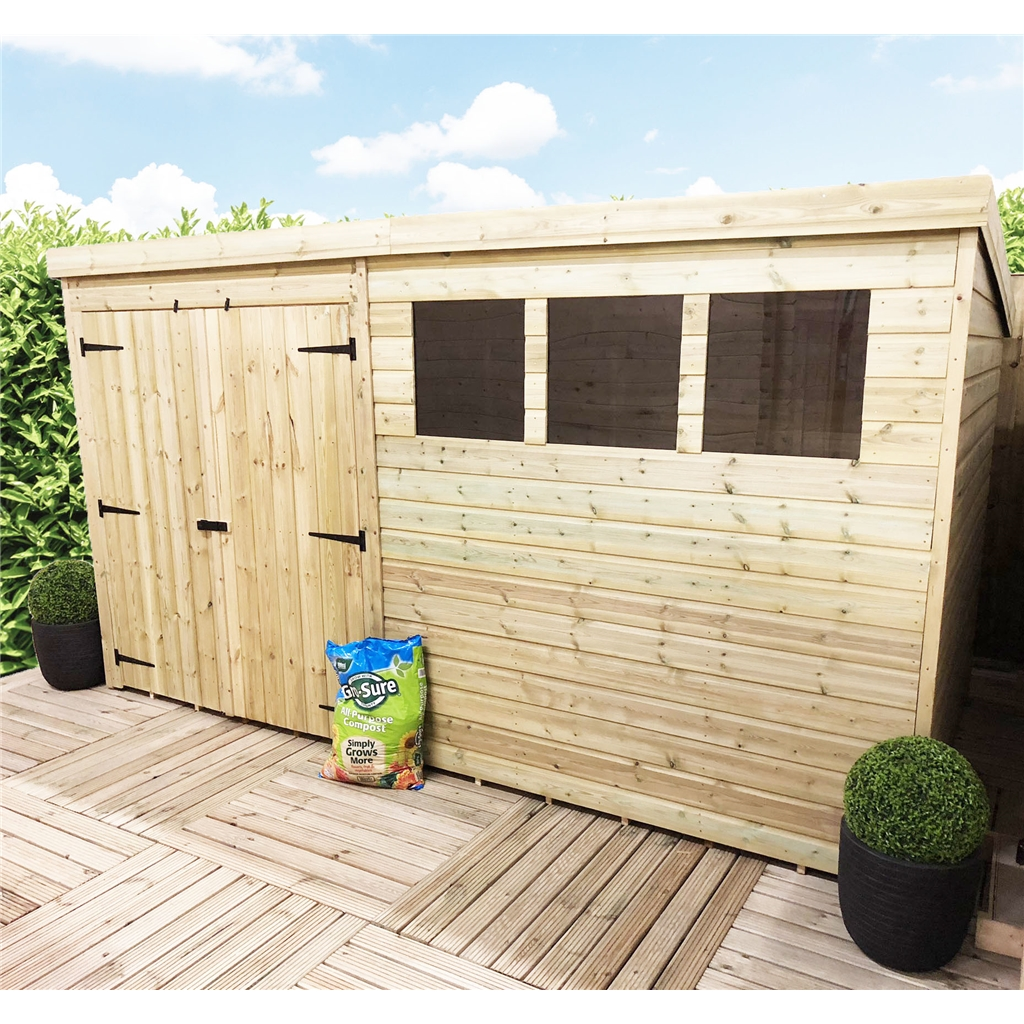 14 x 8 pressure treated tongue and groove pent shed with for Plastic pent shed