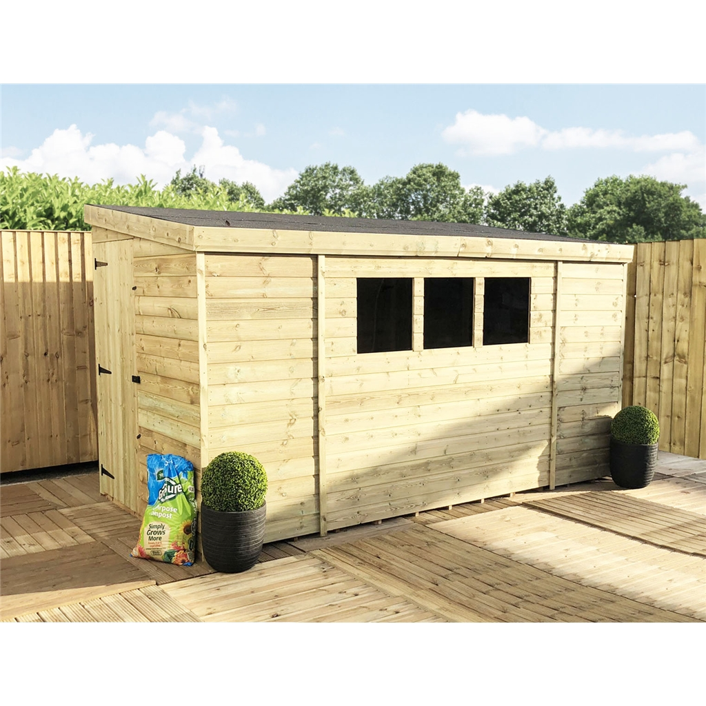 1200 #595128 Treated Tongue And Groove Pent Shed With 3 Windows And Single Door  image Shed Doors And Windows 41331200