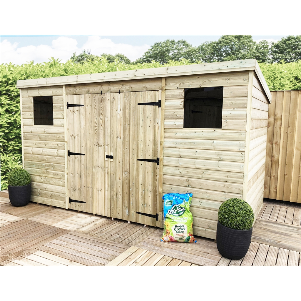 14 X 8 Pressure Treated Tongue And Groove Pent Shed With 2