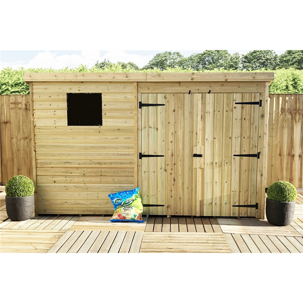 10 x 5 pressure treated tongue and groove pent shed with 1 for Plastic pent shed