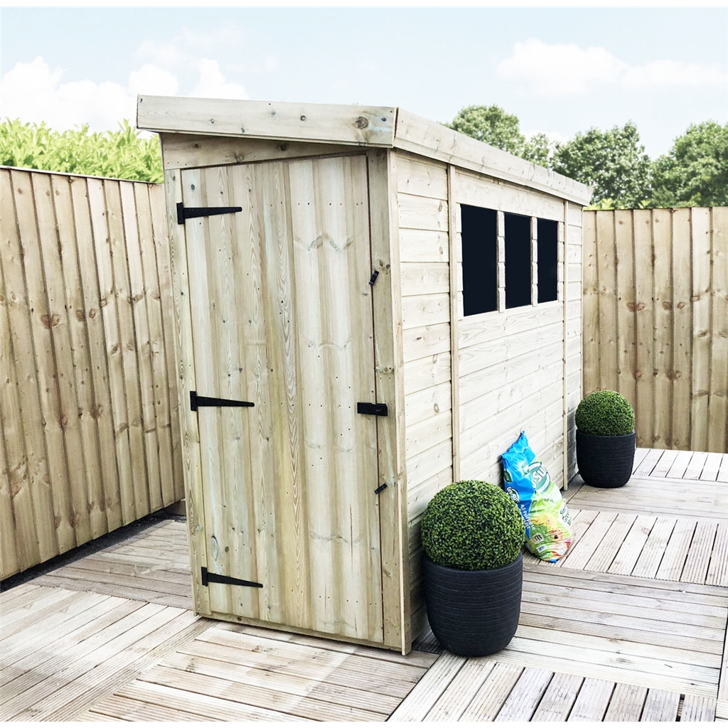 8 x 3 reverse pressure treated tongue and groove pent shed for Plastic pent shed