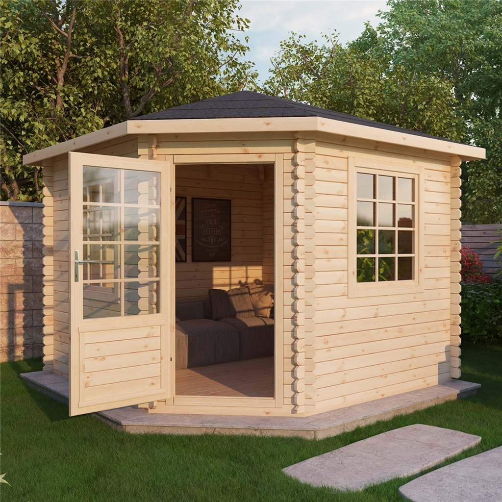 Warwick Log Cabins : 3m X 3m Corner Log Cabin (Single Glazing)   Free . Full resolution  picture, nominally Width 1024 Height 1024 pixels, picture with #976834.