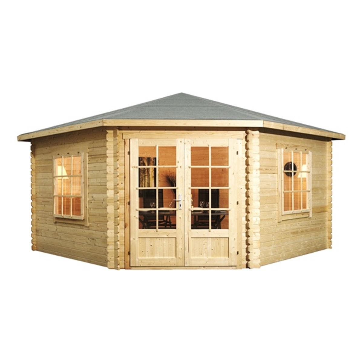 4m x 4m corner log cabin double glazing with large. Black Bedroom Furniture Sets. Home Design Ideas
