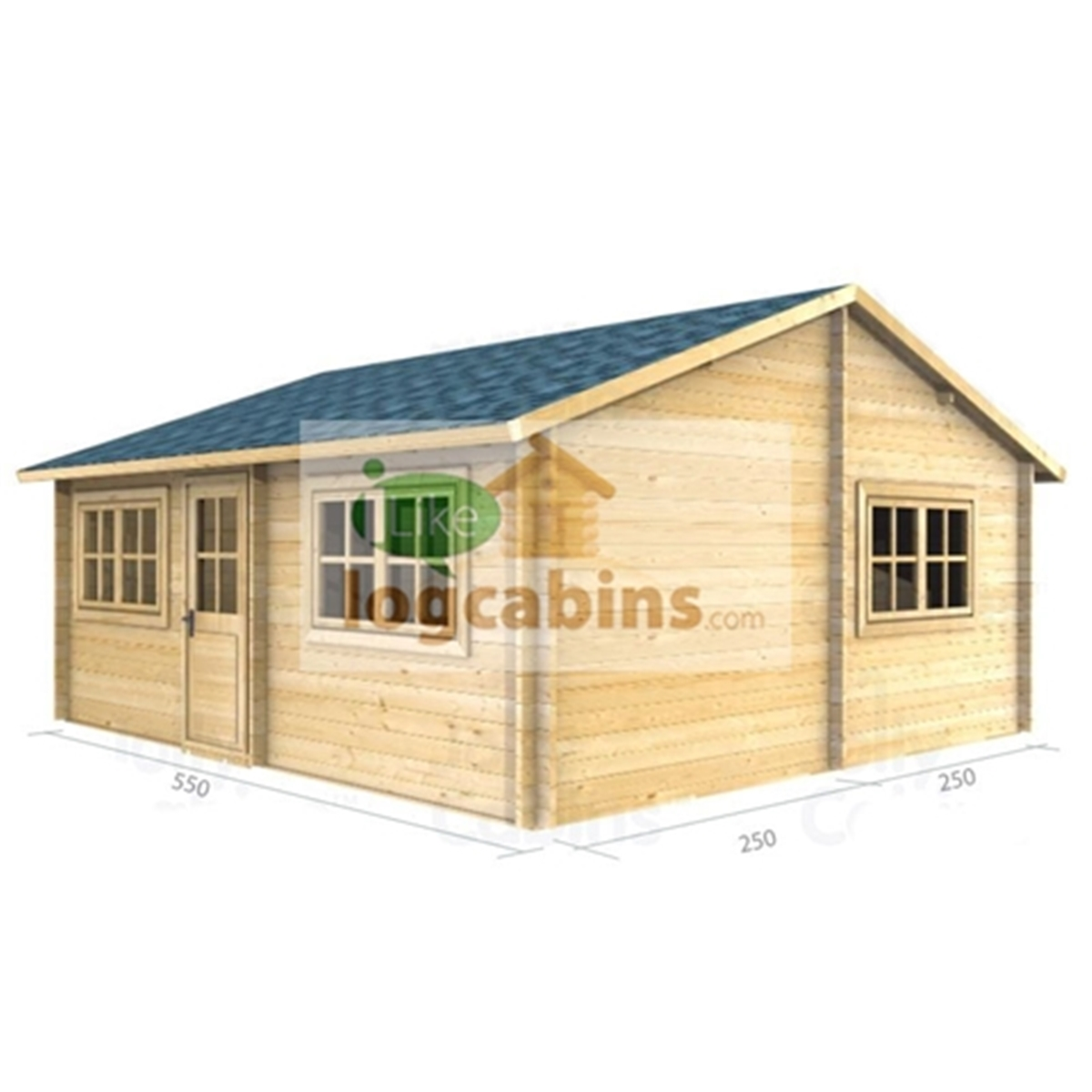 5m X 5m (18 X 16) Apex Reverse Log Cabin (2111) Double Glazing . Full resolution  snapshot, nominally Width 1200 Height 1200 pixels, snapshot with #AA7621.