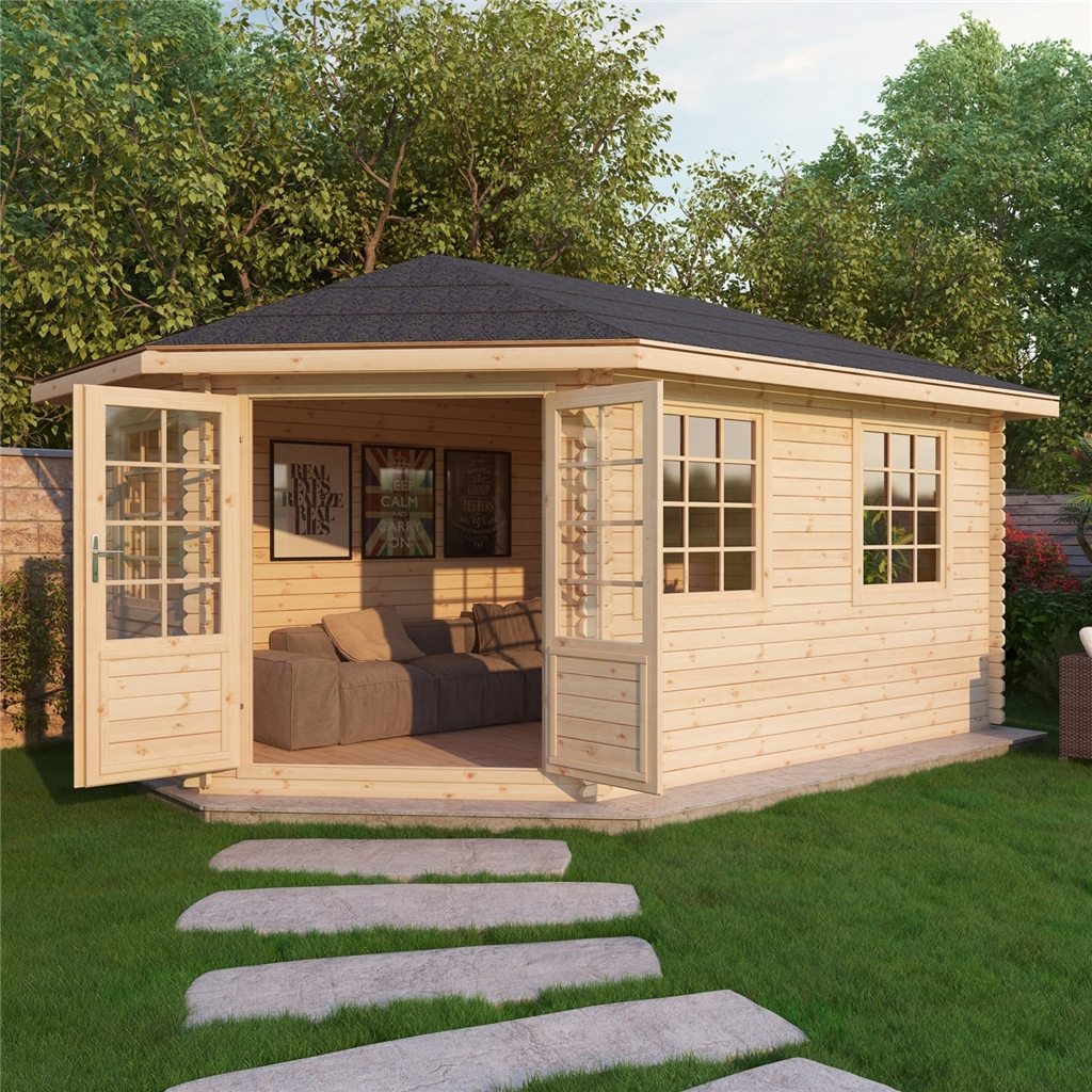 Superb img of Warwick Log Cabins : 5m x 3m Extended Corner Log Cabin (Double Glazing  with #9F6F2C color and 1200x1200 pixels