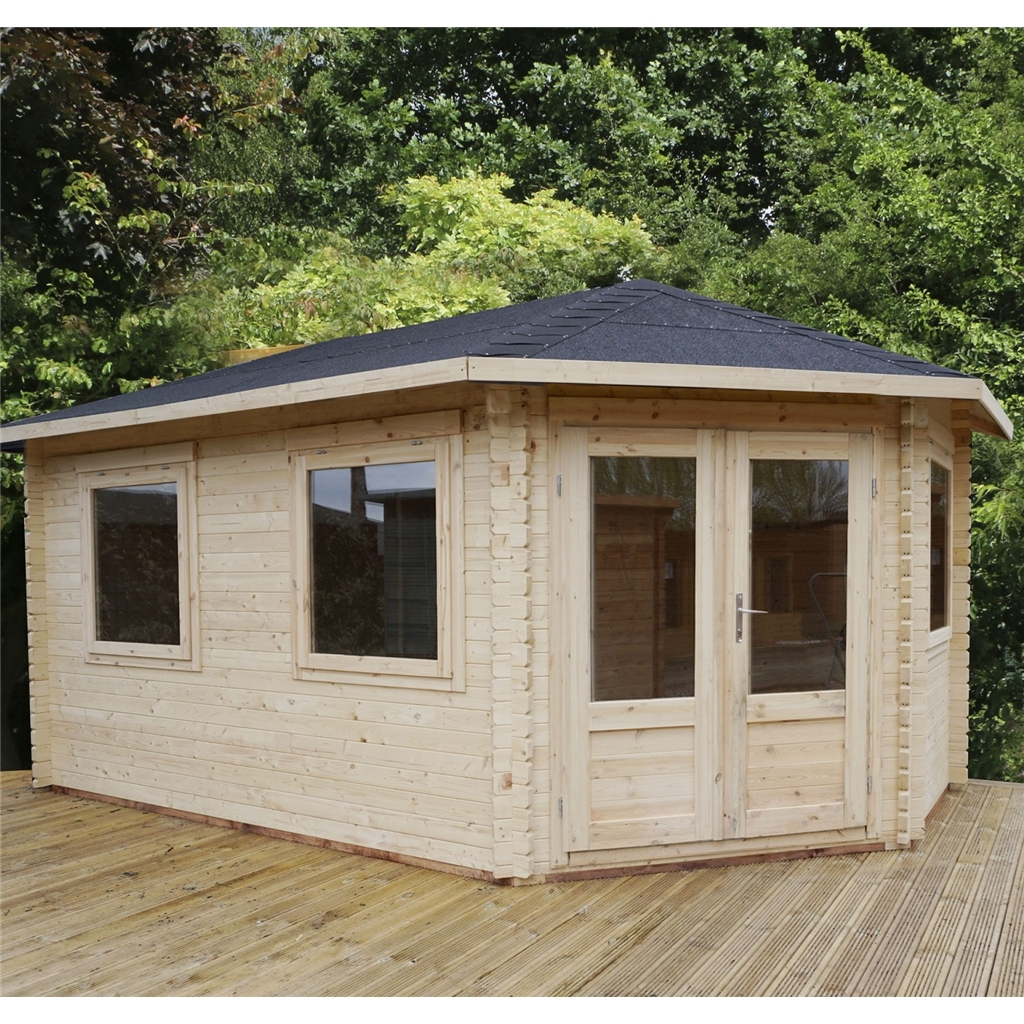 Superb img of Warwick Log Cabins : 5m x 3m Extended Corner Log Cabin (Double Glazing  with #A44F27 color and 1200x1200 pixels