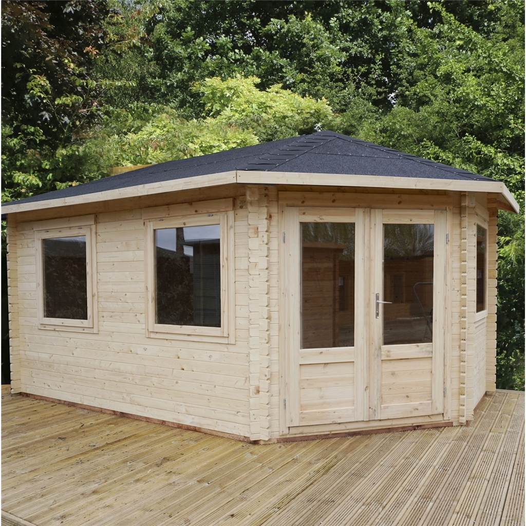 Warwick Log Cabins : 5m X 3m Extended Corner Cabin. Full resolution  pic, nominally Width 1024 Height 1024 pixels, pic with #5F442A.