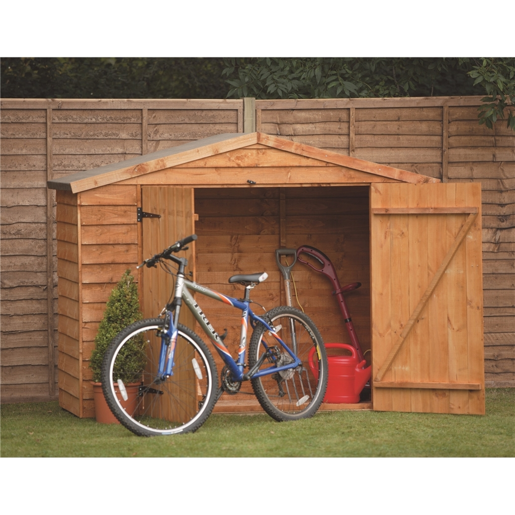 7 x 3 overlap apex wooden bike store with double doors. Black Bedroom Furniture Sets. Home Design Ideas