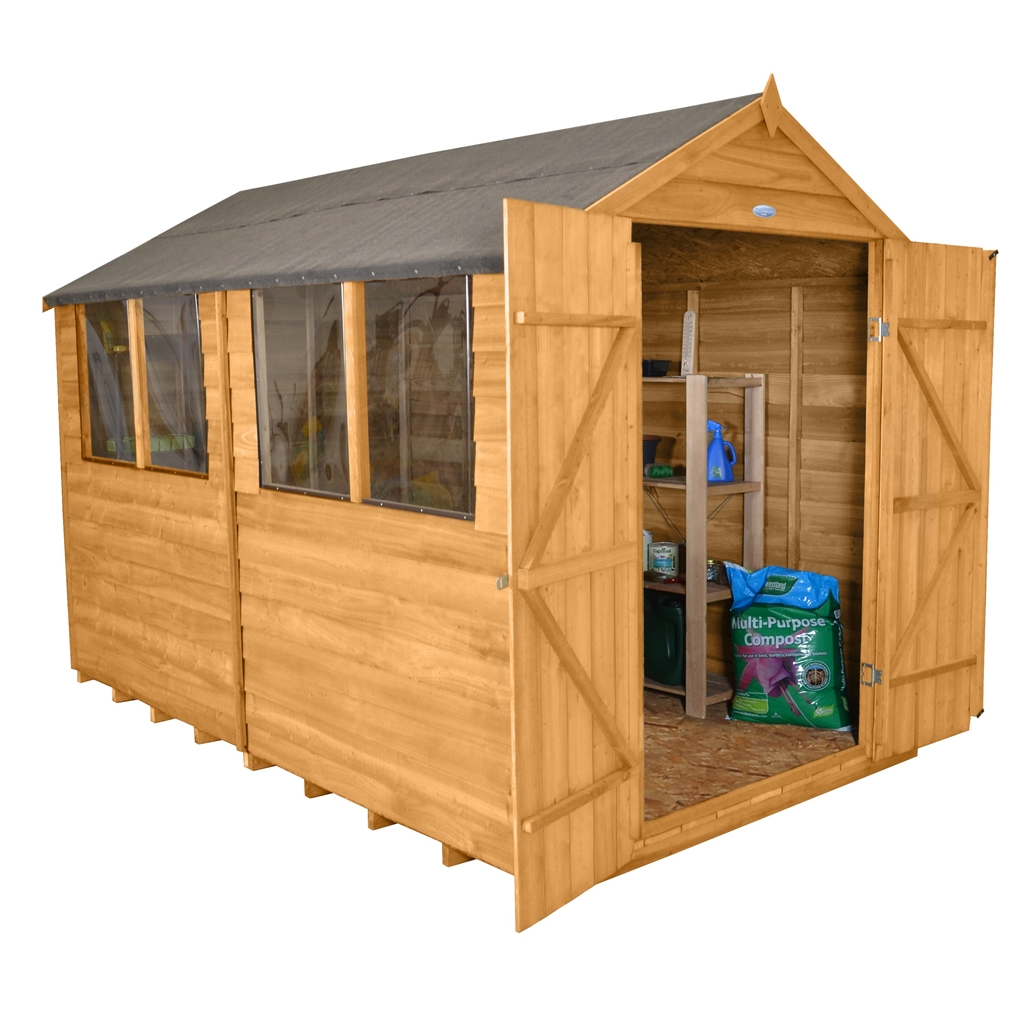 10 X 8 Overlap Apex Wooden Garden Shed Double Doors 4