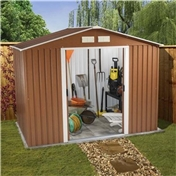 BRISTOL - 8ft x 6ft Premier Woodgrain Metal Shed (2.62m x 1.84m) + FREE 24HR DELIVERY