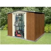 Madrid - 8FT x 6FT PREMIER WOODGRAIN METAL SHED (2.45m x 1.85m)