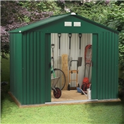 BRISTOL - 8ft x 8ft Premier All Green Metal Shed (2.62m x 2.44m) + FREE 24HR DELIVERY