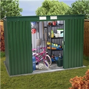 BRISTOL - 8ft x 4ft Premier Pent All Green Metal Shed (2.53m x 1.12m) + FREE 24HR DELIVERY