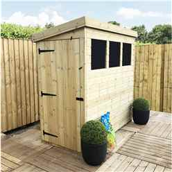 INSTALLED 6 x 3 Pressure Treated Tongue And Groove Pent Shed With 3 Windows And Side Door + Safety Toughened Glass  (please Select Left Or Right Panel For Door)