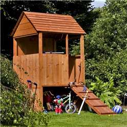 INSTALLED 4 x 4 Platform Wooden Playhouse INSTALLATION INCLUDED