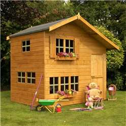 INSTALLED 8 x 6 Wooden Cottage Playhouse - 2 Storey INSTALLATION INCLUDED