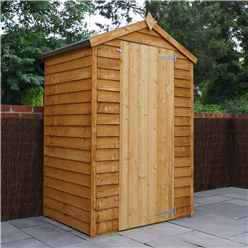 INSTALLED 4 x 3 Overlap Windowless Apex Shed With Single Door (10mm Solid OSB Floor) - INCLUDES INSTALLATION