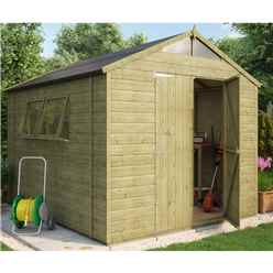 10ft x 8ft Pressure Treated Hobbyist Tongue and Groove Shed with 2 Opening Windows and Double Doors