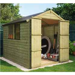 8ft x 6ft Pressure Treated Loglap Shed with 2 Windows and Double Doors