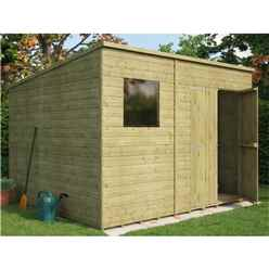 10ft x 8ft  Pressure Treated Shiplap Pent Shed With Double Doors and 1 Window