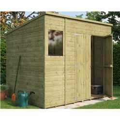 8ft x 6ft  Pressure Treated Shiplap Pent Shed With Double Doors and 1 Window
