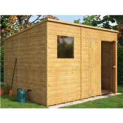 10ft x 8ft  Shiplap Pent Shed With Double Doors and 1 Window