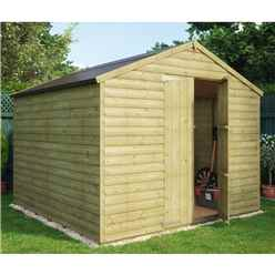 8ft x 8ft Pressure Treated Windowless Loglap Shed with Double Doors